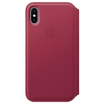 iPhone X Leder Folio Beerenrot Apple MQRX2ZM/A Blister