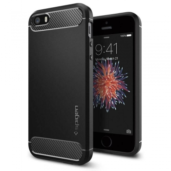 iPhone SE Handyhülle Spigen Rugged Armor schwarz