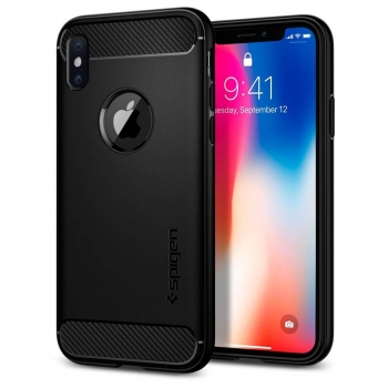 iPhone X Handyhülle Spigen Rugged Armor schwarz