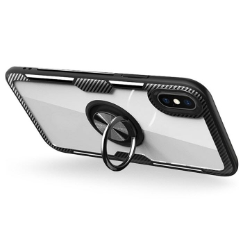 iPhone X Hybrid Ring Case Carbon schwarz