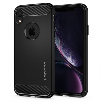iPhone XR Handyhülle Spigen Rugged Armor schwarz